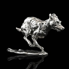 'Bunched Terrier' Sterling Silver Limited Edition Sculpture by Lucy Kinsella