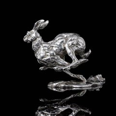 Lucy Kinsella 'Bunched Hare' sterling silver sculpture