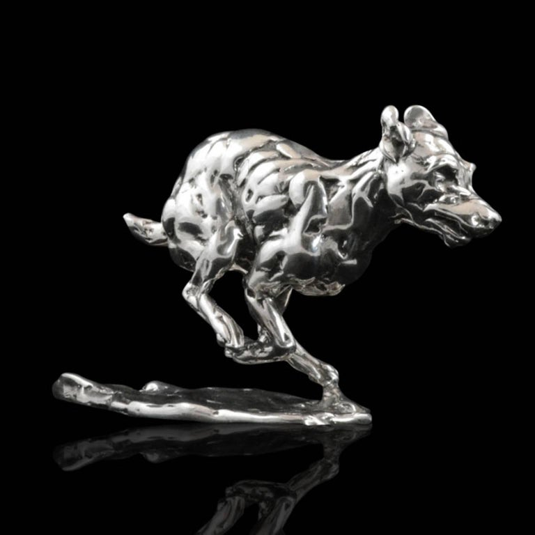 Lucy Kinsella 'Bunched Terrier'  Sterling Silver Scculpture - Contemporary Sculpture by Lucy Kinsella