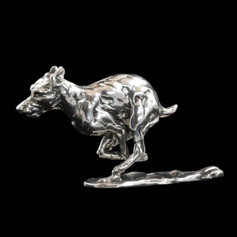 Lucy Kinsella exclusive to Hancocks Length 17cm x height 9cm 395 grams  The limited edition finely modelled terrier races across the ground, his muscles tense and body bunched, mid stride.  His gaze is focused intently in front of him and there is a