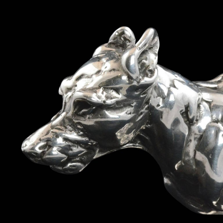 Lucy Kinsella 'Bunched Terrier'  Sterling Silver Scculpture For Sale 1