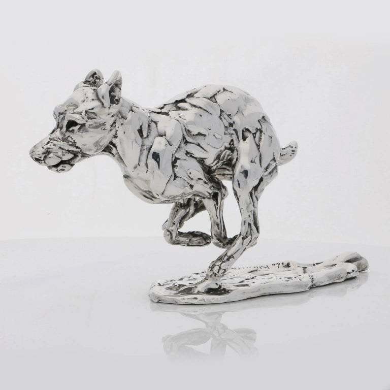 Lucy Kinsella 'Bunched Terrier'  Sterling Silver Scculpture - Sculpture by Lucy Kinsella