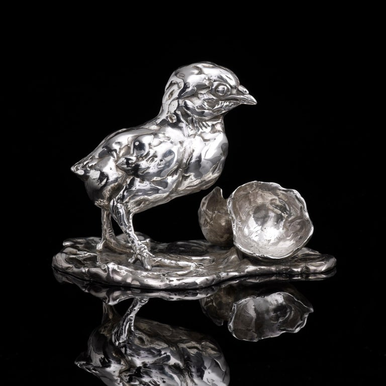 Lucy Kinsella 'Chicken & Egg' Sterling Silver Sculpture - Black Figurative Sculpture by Lucy Kinsella