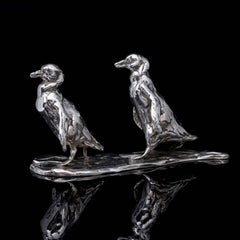 'Marching Penguins' Sterling Silver Sculpture