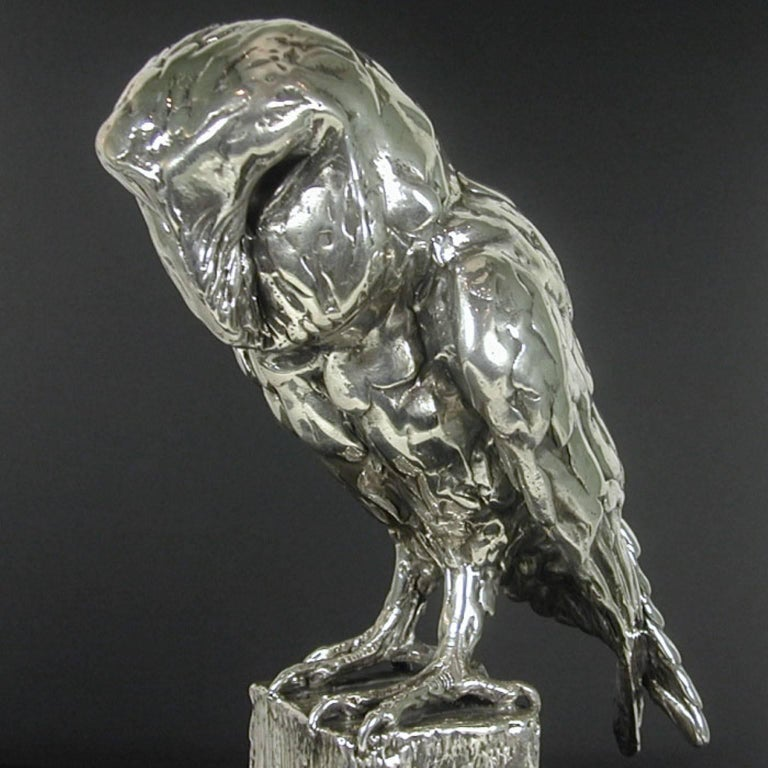 'Owl on Post' Sterling Silver Sculpture by Lucy Kinsella  For Sale 1