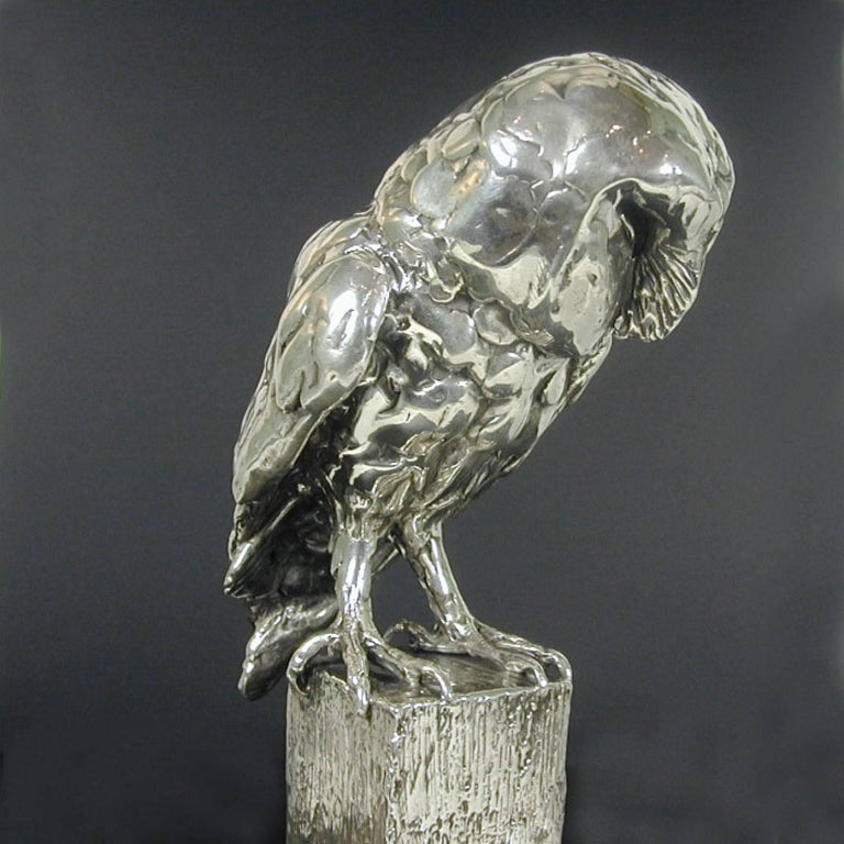 'Owl on Post' Sterling Silver Sculpture by Lucy Kinsella  For Sale 2