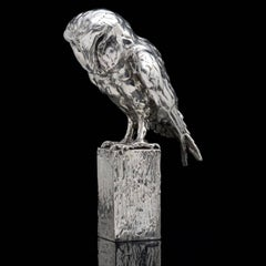 'Owl on Post' Sterling Silver Sculpture by Lucy Kinsella
