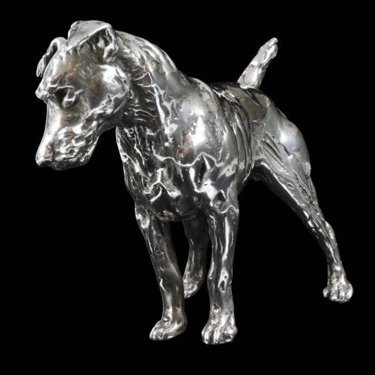 'Patterdale Terrier' Sterling Silver Sculpture For Sale 1