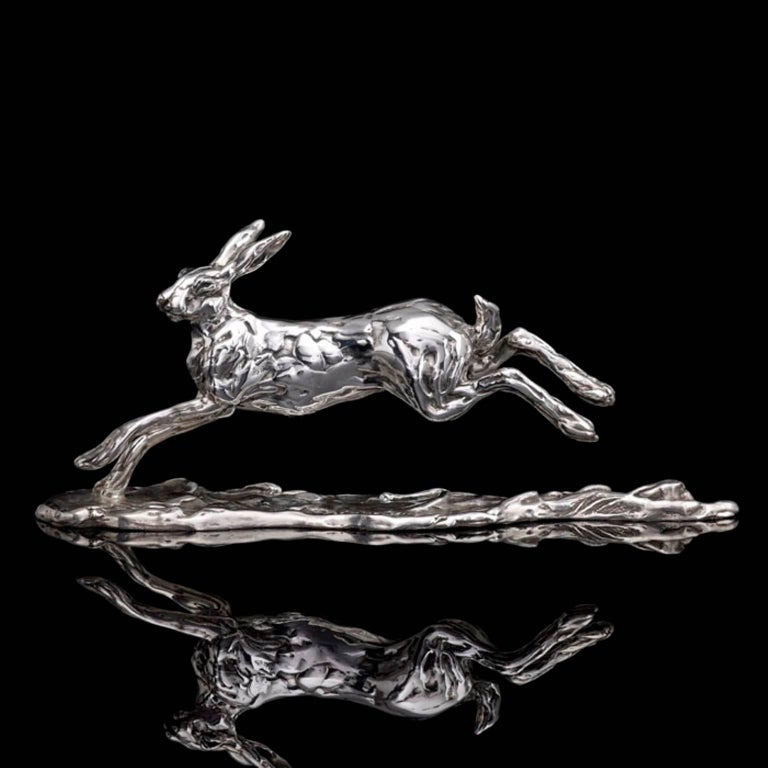 Running Hare - Sculpture by Lucy Kinsella