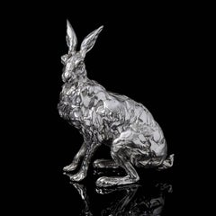 'Seated Hare' Limited Edition Sterling Silver Sculpture by Lucy Kinsella