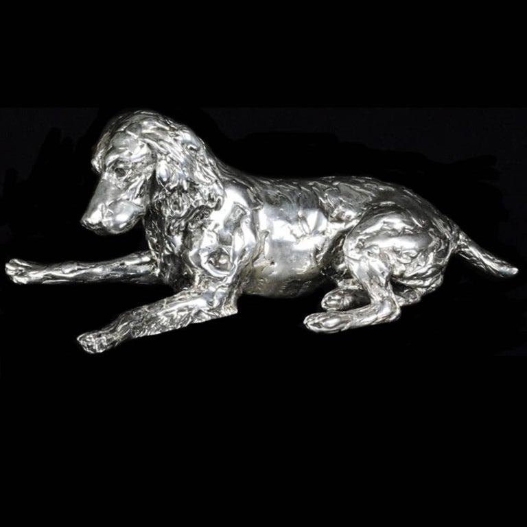 'Spaniel and Pup'  Sterling Silver Sculpture For Sale 1