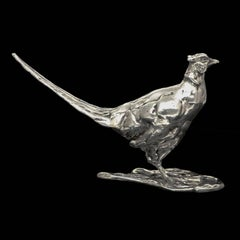 """Standing Pheasant"" Limited Edition Sterling Silver Sculpture by Lucy Kinsella"