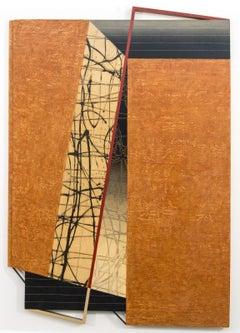 Shifting Latitude - orange, black, abstract, three dimensional, wall sculpture