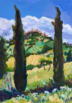 Lucy Pratt, Casole D'elsa III, Original Landscape Painting, Countryside Art