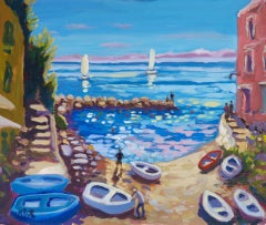 Lucy Pratt, Down with the Boats, Original Seascape Painting, Affordable Art