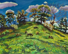 Lucy Pratt, Grazers on the Motte and Bailey, Original Landscape Painting
