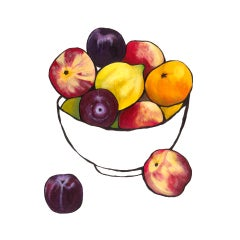 Lucy Routh, Citrus Bowl with Nectarines, Affordable Original Still Life Painting