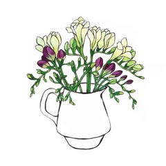 Purple and White Freesias BY LUCY ROUTH, Flower Art, Contemporary Painting