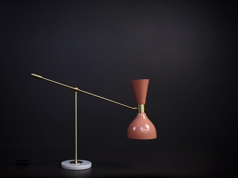 North American Ludo Desk Lamp or Table Lamp in Pink Enamel and Brass by Blueprint Lighting For Sale