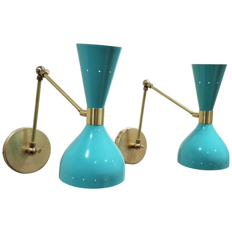 """Ludo"" Wall-Mount Reading Lamp in Brass & Aqua Blue Enamel, Blueprint Lighting For Sale"