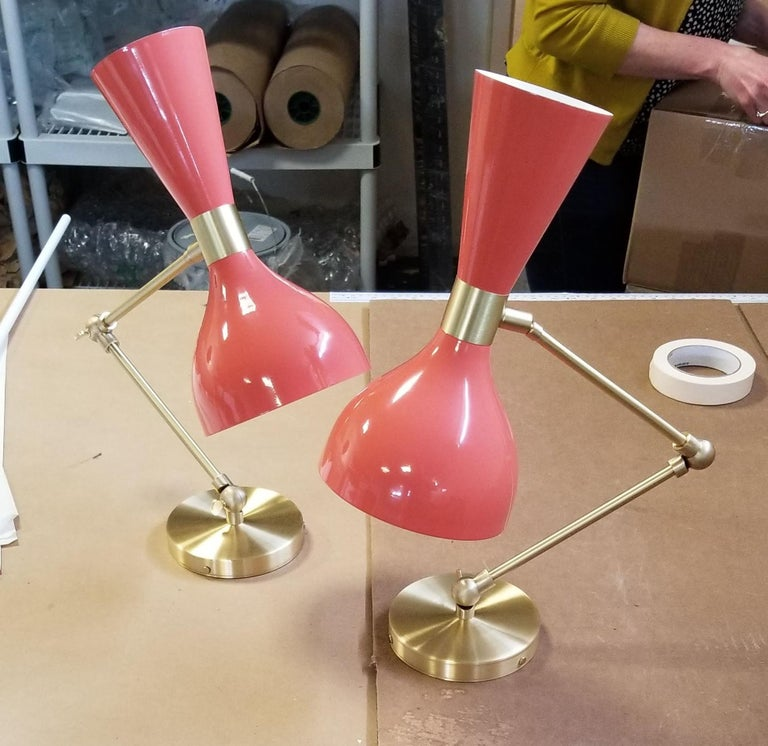American Ludo Wall Sconce or Reading Lamp in Coral Enamel & Brass, Blueprint Lighting NYC For Sale