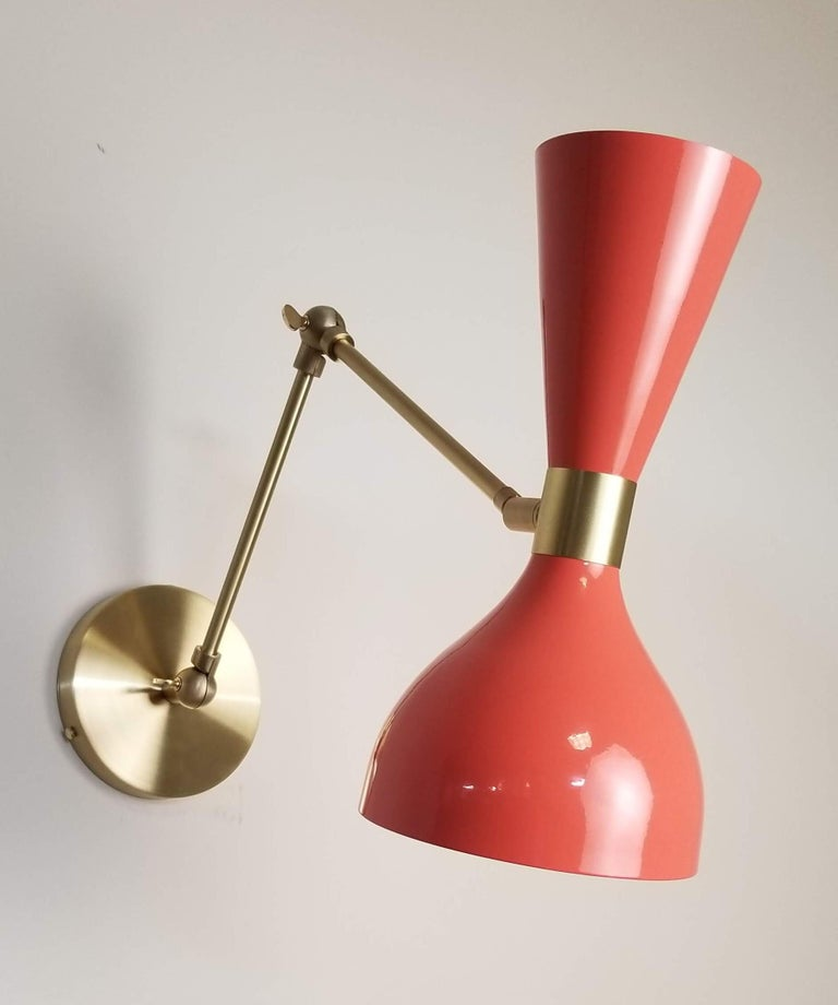 Spun Ludo Wall Sconce or Reading Lamp in Coral Enamel & Brass, Blueprint Lighting NYC For Sale