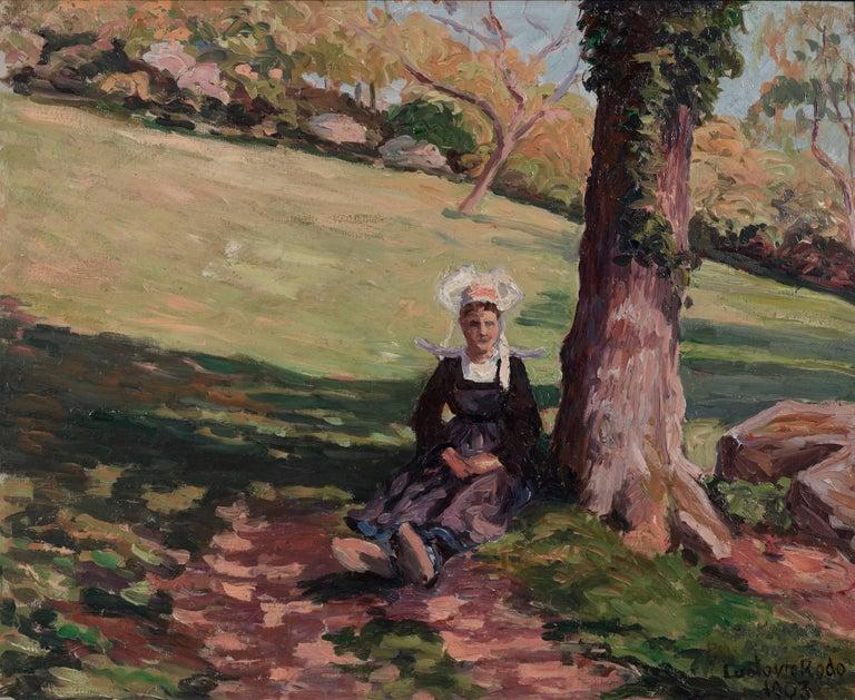Bretonne sous un Arbre by LUDOVIC RODO PISSARRO - Post Impressionist painting - Painting by Ludovic-Rodo Pissarro
