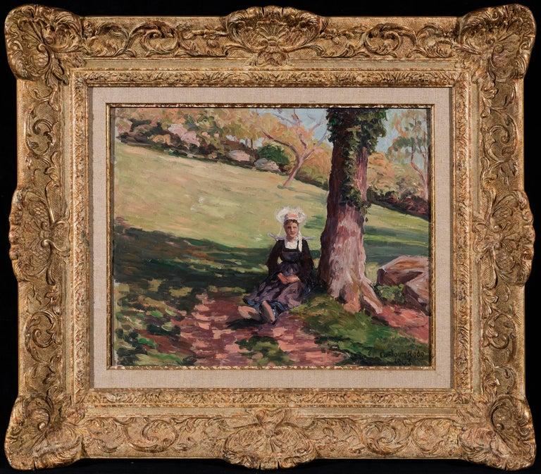 Ludovic-Rodo Pissarro Figurative Painting - Bretonne sous un Arbre by LUDOVIC RODO PISSARRO - Post Impressionist painting