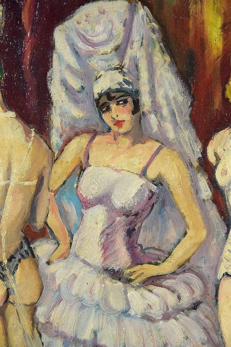 Cabaret Dancers, Oil on Canvas by Ludovic-Rodo Pissarro For Sale 3