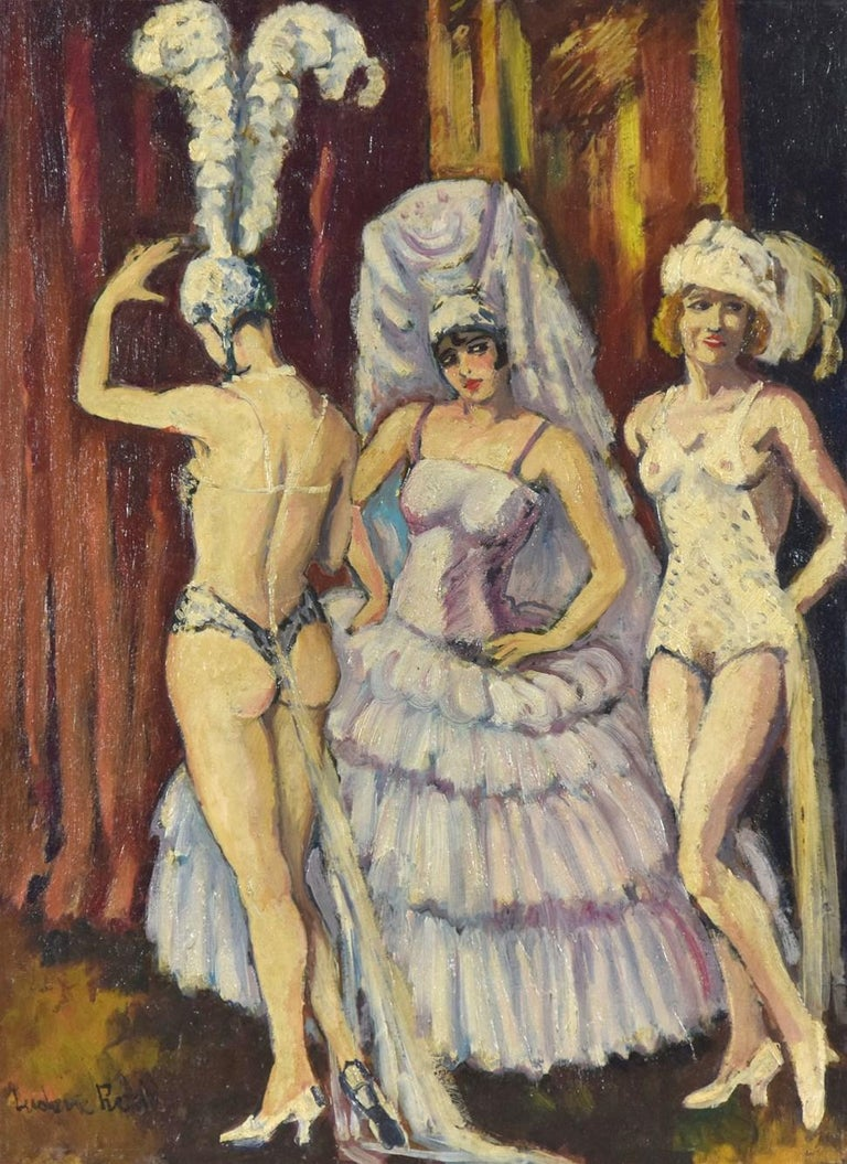 Cabaret Dancers by Ludovic-Rodo Pissarro (1878-1952) Oil on canvas Signed lower left, Ludovic Rodo 51.8 x 38 cm (20.375 x 15 inches) Circa 1906  This work is accompanied by a certificate of authenticity from Lélia Pissarro.  Provenance Private