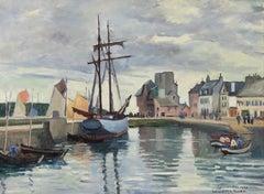 Concarneau Harbour, Brittany by Ludovic-Rodo Pissarro - River scene