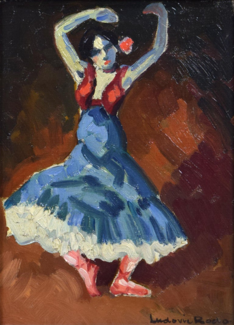 Danseuse Espagnole by LUDOVIC RODO PISSARRO - Fauvist Painting of Spanish Dancer - Brown Portrait Painting by Ludovic-Rodo Pissarro