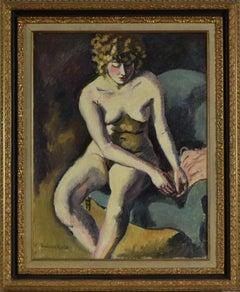 Jeune Fille aux Cheveux Bouclés, fauvist nude painting by Ludovic Rodo Pissarro