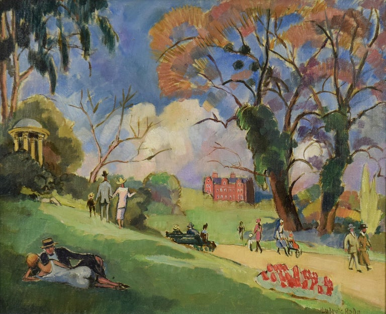 Kew Gardens, London by Ludovic-Rodo Pissarro - Park scene, landscape art For Sale 1