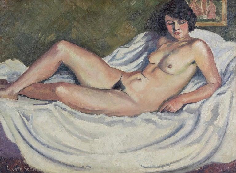 Nude oil painting by Ludovic Rodo Pissarro titled 'La Brune au Tableau de Nu' - Painting by Ludovic-Rodo Pissarro
