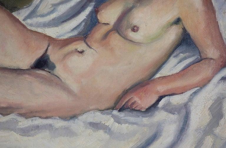 Nude oil painting by Ludovic Rodo Pissarro titled 'La Brune au Tableau de Nu' - Post-Impressionist Painting by Ludovic-Rodo Pissarro