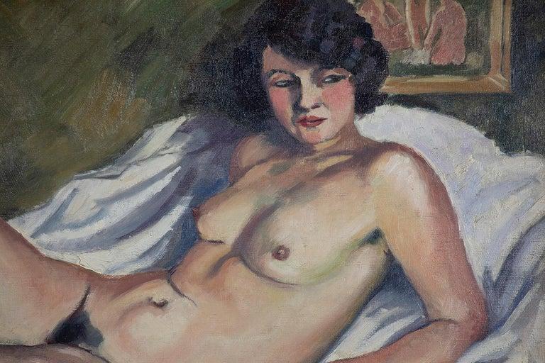 Nude oil painting by Ludovic Rodo Pissarro titled 'La Brune au Tableau de Nu' - Brown Figurative Painting by Ludovic-Rodo Pissarro