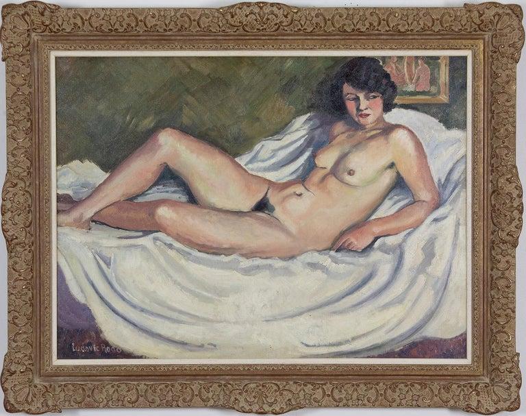 Ludovic-Rodo Pissarro Figurative Painting - Nude oil painting by Ludovic Rodo Pissarro titled 'La Brune au Tableau de Nu'