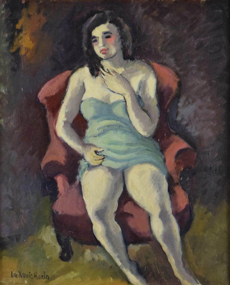 Seated Woman by LUDOVIC RODO-PISSARRO - Portrait Art, Fauvist Oil Painting - Brown Figurative Painting by Ludovic-Rodo Pissarro