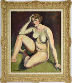 The Thinker (La Penseuse) by Ludovic Rodo Pissarro, Nude Oil Painting, Fauvism