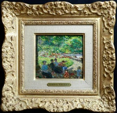 """""""Figures in the Park"""" Vallee C.19th French Impressionist Figures in Landscape"""
