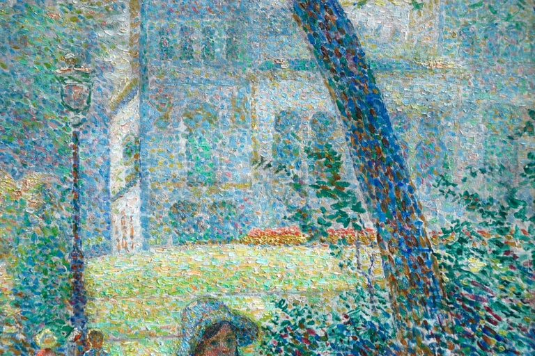 Le Parc Montsouris - Au Matin - Pointillist Oil, Figures in Landscape - L Vallee For Sale 6