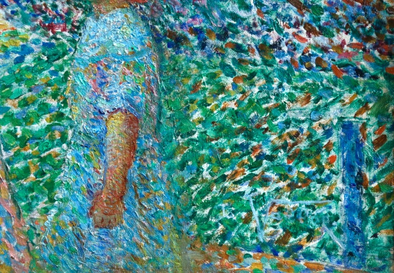 Le Parc Montsouris - Au Matin - Pointillist Oil, Figures in Landscape - L Vallee For Sale 7