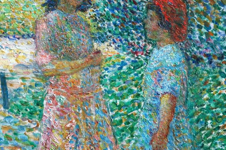 Le Parc Montsouris - Au Matin - Pointillist Oil, Figures in Landscape - L Vallee For Sale 8
