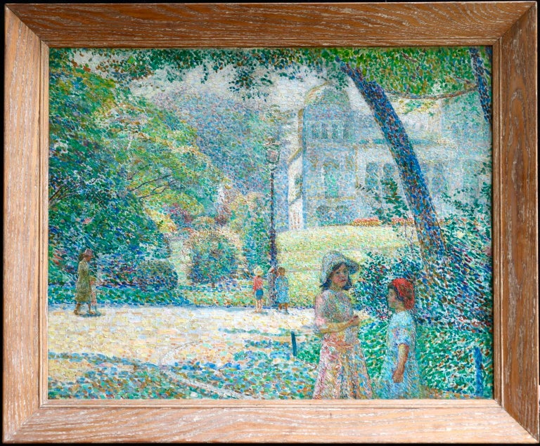 Le Parc Montsouris - Au Matin - Pointillist Oil, Figures in Landscape - L Vallee - Painting by Ludovic Vallée