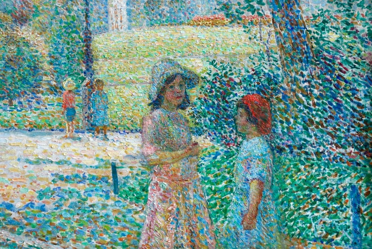 Le Parc Montsouris - Au Matin - Pointillist Oil, Figures in Landscape - L Vallee - Gray Figurative Painting by Ludovic Vallée