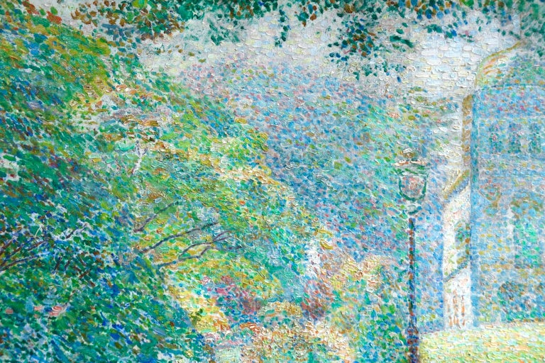 Le Parc Montsouris - Au Matin - Pointillist Oil, Figures in Landscape - L Vallee For Sale 1
