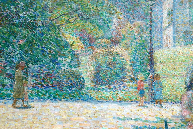 Le Parc Montsouris - Au Matin - Pointillist Oil, Figures in Landscape - L Vallee For Sale 2