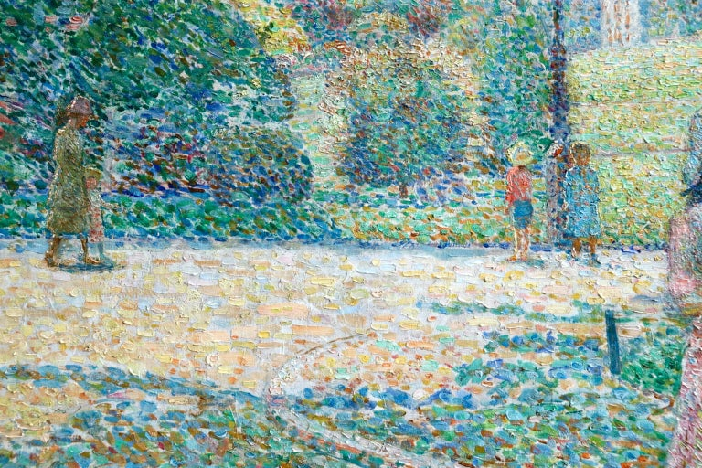Le Parc Montsouris - Au Matin - Pointillist Oil, Figures in Landscape - L Vallee For Sale 3