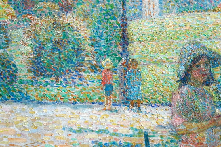Le Parc Montsouris - Au Matin - Pointillist Oil, Figures in Landscape - L Vallee For Sale 4